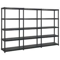 vidaXL Storage Shelf 5-Tier Black 255x40x185 cm Plastic
