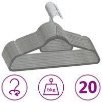 vidaXL 20 pcs Clothes Hanger Set Anti-slip Grey Velvet