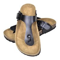 vidaXL Women's Bio Cork Sandal with Flip Flop Design Black Size 37