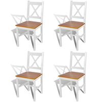 vidaXL Dining Chairs 4 pcs White Pinewood
