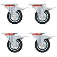 vidaXL Swivel Casters with Double Brakes 4 pcs 75 mm