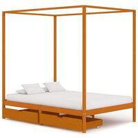vidaXL Canopy Bed Frame with 2 Drawers Solid Pine Wood 140x200 cm