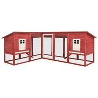 vidaXL Outdoor Rabbit Hutch with Run Red and White Solid Fir Wood
