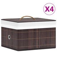 vidaXL Bamboo Storage Boxes 4 pcs Brown