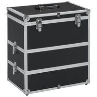 vidaXL Make-up Case 37x24x40 cm Black Aluminium