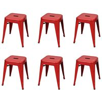 vidaXL Stacking Stools 6 pcs Red Steel