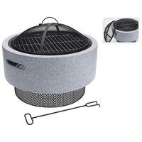 ProGarden Fire Bowl with BBQ Rack Round Light Grey 52x18.5 cm