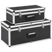 vidaXL Storage Cases 2 pcs Black Aluminium