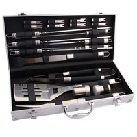 BBGRILL 20 Piece Barbecue Utensil Set Stainless Steel