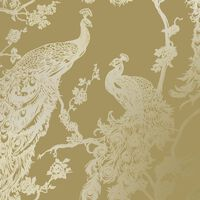 DUTCH WALLCOVERINGS Wallpaper Peacock Yellow and Silver