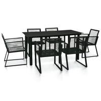 vidaXL 7 Piece Outdoor Dining Set PVC Rattan Black
