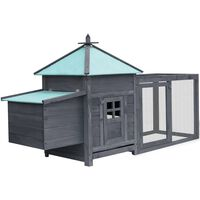 vidaXL Chicken Coop with Nest Box Grey 193x68x104 cm Solid Firwood
