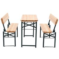 vidaXL Folding Beer Table with 2 Benches 118 cm Fir Wood