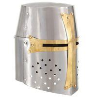 vidaXL Medieval Crusader Knight Helmet Replica LARP Silver Steel