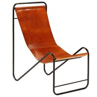 vidaXL Chair Brown Real Leather