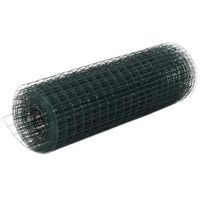 vidaXL Chicken Wire Fence Steel with PVC Coating 25x0.5 m Green
