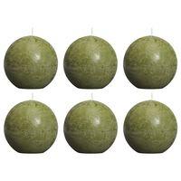 Bolsius Rustic Ball Candles 6 pcs 80 mm Olive