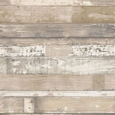 Homestyle Wallpaper Old Wood Brown and Beige