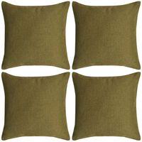 vidaXL Cushion Covers 4 pcs Linen-look Green 50x50 cm