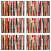 vidaXL Placemats 6 pcs Chindi Plain Multicolour 30x45 cm Cotton