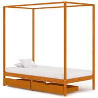 vidaXL Canopy Bed Frame with 2 Drawers Solid Pine Wood 100x200 cm