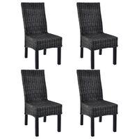 vidaXL Dining Chairs 4 pcs Black Kubu Rattan and Mango Wood