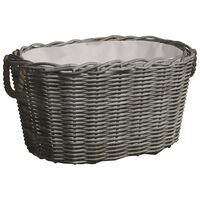 vidaXL Firewood Basket with Carrying Handles 60x40x28 cm Grey Willow