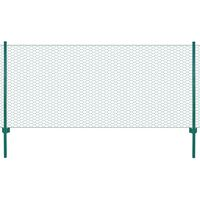 vidaXL Wire Mesh Fence with Posts Steel 25x0.75 m Green