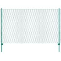 vidaXL Wire Mesh Fence with Posts Steel 25x2 m Green