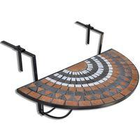 vidaXL Hanging Balcony Table Terracotta and White Mosaic