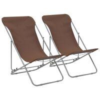 vidaXL Folding Beach Chairs 2 pcs Steel and Oxford Fabric Brown