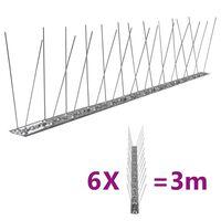 vidaXL 2-row Stainless Steel Bird & Pigeon Spikes Set of 6 3 m