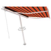 vidaXL Freestanding Manual Retractable Awning 350x250 cm Orange/Brown
