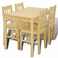 vidaXL Dining Set 5 Pieces Pine Wood Natural