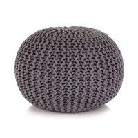 vidaXL Hand-Knitted Pouffe Cotton 50x35 cm Grey