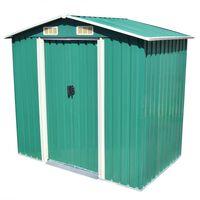 vidaXL Garden Storage Shed Green Metal 204x132x186 cm