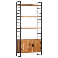 vidaXL 4-Tier Bookcase 80x30x180 cm Solid Acacia Wood