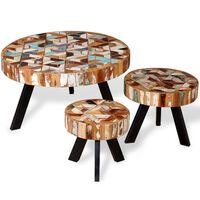 vidaXL Three Piece Coffee Table Set Solid Reclaimed Wood