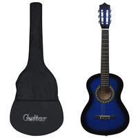 """vidaXL 8 Piece Classical Guitar Beginner Set Blue 1/2 34"""""""