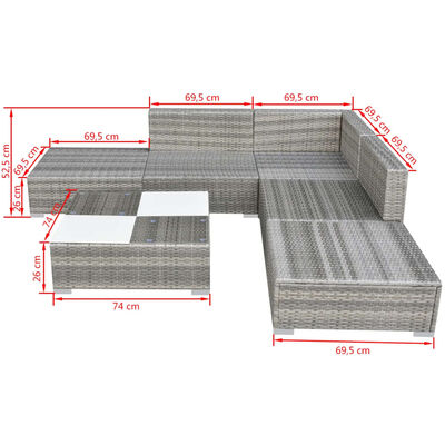 vidaXL 6 Piece Garden Lounge Set with Cushions Poly Rattan Grey