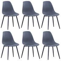 vidaXL Dining Chairs 6 pcs Grey PP