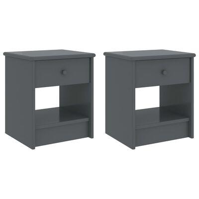 vidaXL Bedside Cabinets 2 pcs Dark Grey 35x30x40 cm Solid Pinewood