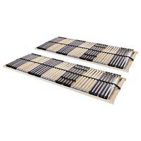 vidaXL Slatted Bed Bases 2 pcs with 42 Slats 7 Zones 90x200 cm