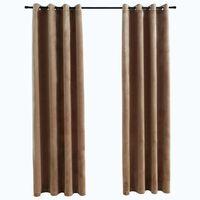vidaXL Blackout Curtains with Rings 2 pcs Velvet Beige 140x225 cm