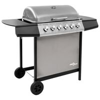 vidaXL Gas BBQ Grill with 6 Burners Black and Silver