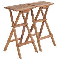 vidaXL Folding Bar Stools 2 pcs Solid Teak Wood
