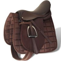"""Horse Riding Saddle Set 16"""" Real Leather Brown 14 cm 5-in-1"""