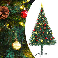 vidaXL Faux Christmas Tree Decorated with Baubles and LEDs 150cm Green