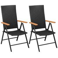 vidaXL Stackable Garden Chairs 2 pcs Poly Rattan Black