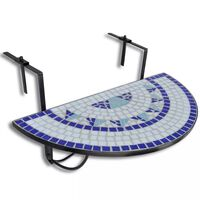 vidaXL Hanging Balcony Table Blue and White Mosaic